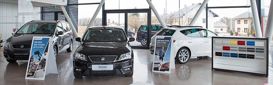 Autohaus Egger. Mit uns fahren Sie immer gut. SEAT-Vetragshändler in Oberösterreich direkt an der B138